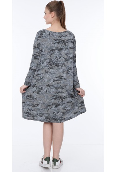 Pua Fashion Antrasit Kamuflaj Elbise