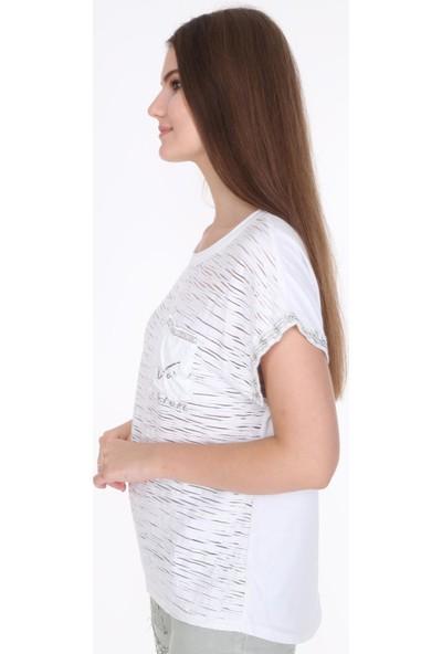 Pua Fashion Beyaz Cebi Payetli Bluz