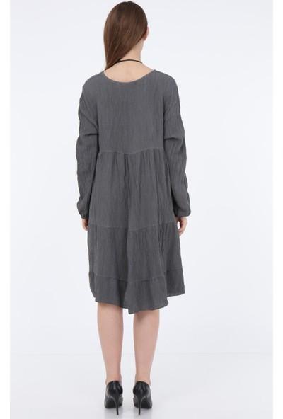 Pua Fashion Antrasit Krinkıl Düğmeli Elbise