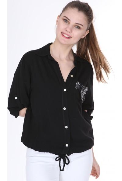 Pua Fashion Siyah Cebi Payetli Gömlek