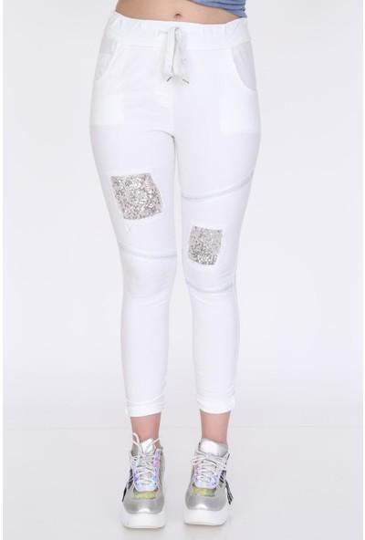 Pua Fashion Beyaz Dizi Payetli Pantolon