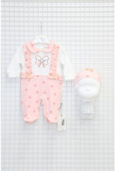Nakış Işlemeli Fırfırlı Kız Bebek Tulum Somon