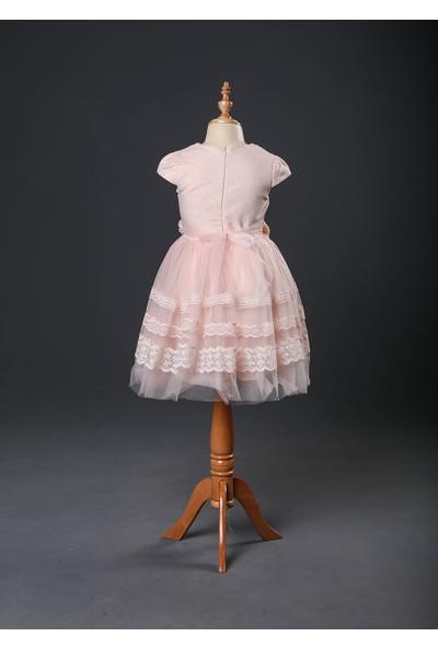 Seramis Kids Brode Şeritli Kız Çocuk Elbise