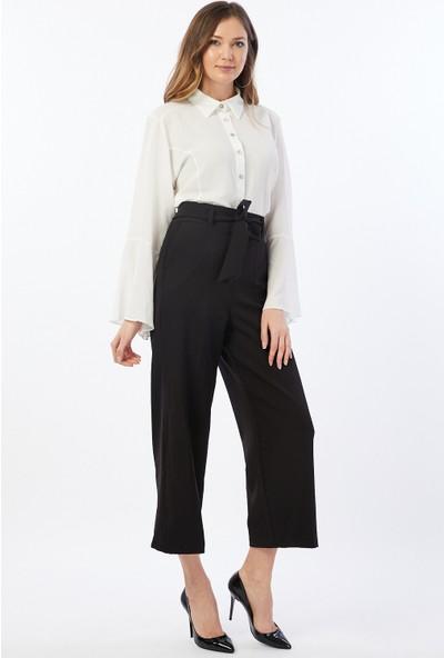 Bazza Bol Paça Siyah Pantolon