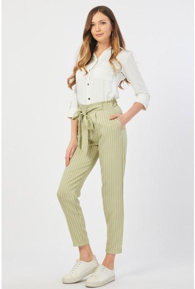 Bazza Çizgili Açık Yeşil Pantolon