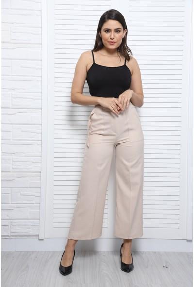 Bazza Dıştan Cepli Bej Kadın Pantolon