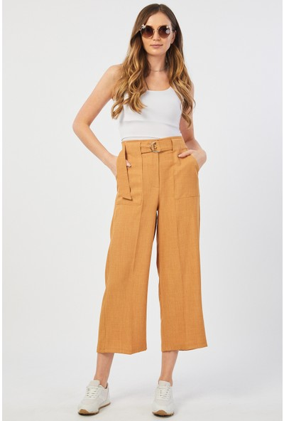 Bazza Dıştan Cepli Hardal Kadın Pantolon