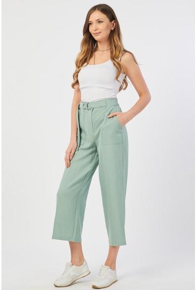 Bazza Dıştan Cepli Su Yeşili Kadın Pantolon