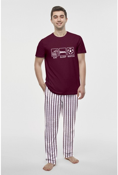 Penti Bordo Routine Ss Pijama Takımı L