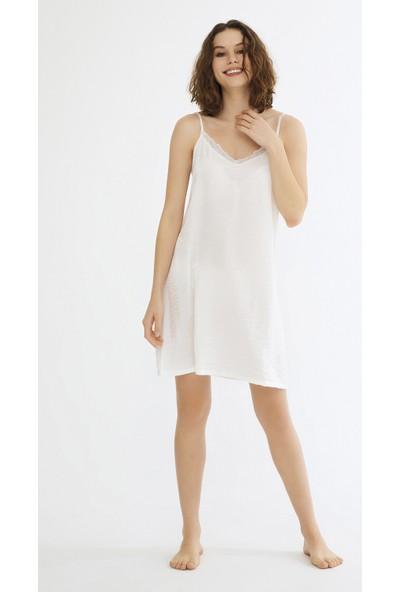 Penti Optik Beyaz Diamond Bridal Gecelik XL