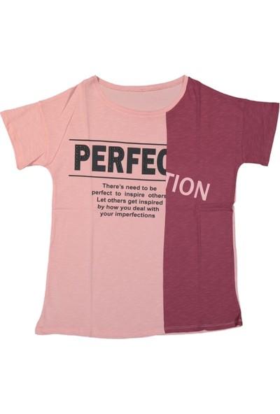 Via Girls Kız Çocuk Baskılı Tişört Pembe 16 Yaş