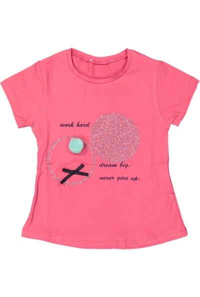 Via Girls Kız Çocuk Baskılı Tişört Pembe 1 Yaş