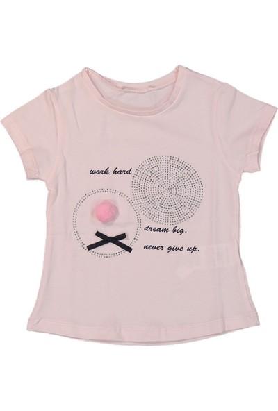 Via Girls Kız Çocuk Baskılı Tişört Pudra 1 Yaş