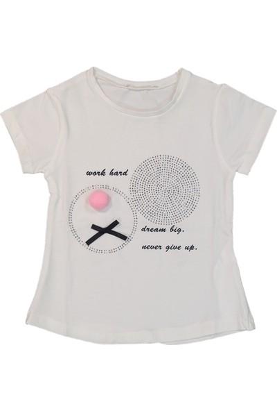 Via Girls Kız Çocuk Baskılı Tişört Krem 4 Yaş