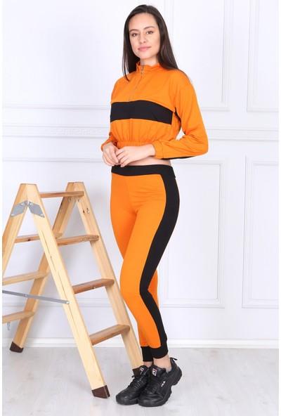 Koza Kadın Turuncu Parçalı Crop Model Göbeği Açık Ikili Eşofman Takımı