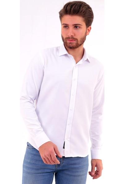 Altegro Slim Fit Uzun Kollu Beyaz Oxford Erkek Gömlek XXXL