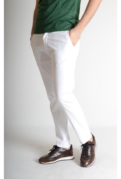 Luppo Club Likralı Pamuk Chino Slim Fit Beyaz Erkek Pantolon 34