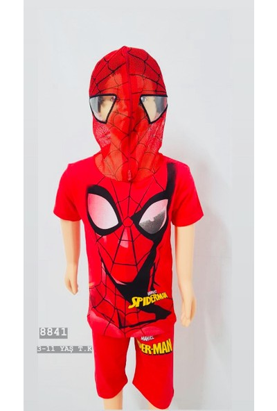 Örümcek Adam Spiderman Maskeli Şort Tshirt Eşofman Takımı