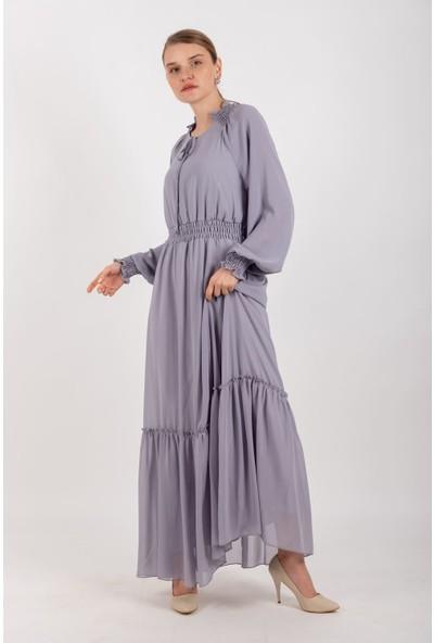 Puane Beli Lastikli Şifon Elbise Astarlı Gri -PN12137