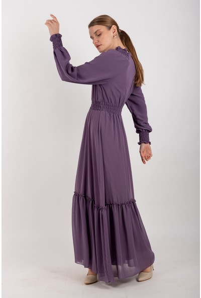 Puane Beli Lastikli Şifon Elbise Astarlı Lila -PN12137