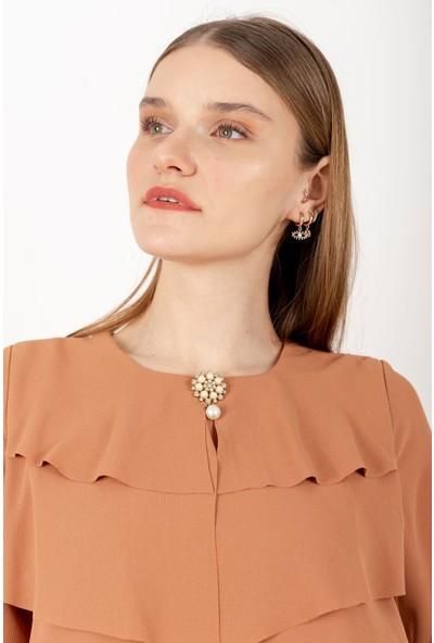 Puane Broşlu Maksi Elbise Astarlı Taba -PN12156