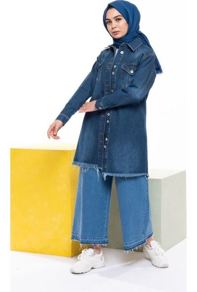 Magazin Çift Düğmeli Kot Ceket Lacivert -MGZ6435