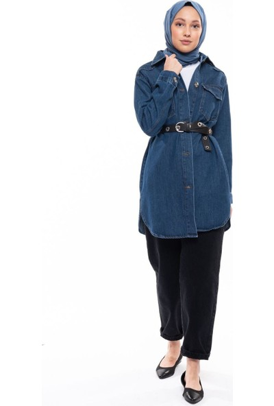 Magazin Düğmeli Denim Ceket Koyu Mavi -MGZ6422