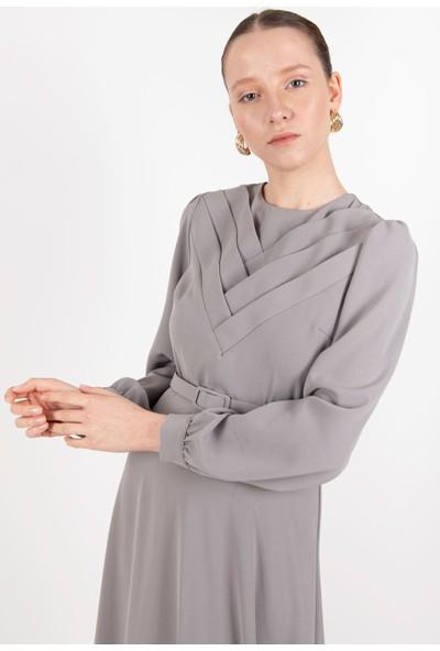 Puane Elbise Gri -PN12180