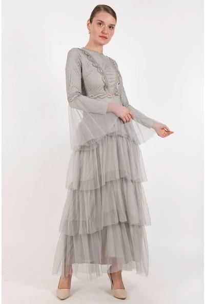 Puane Elbise Gri -PN12149
