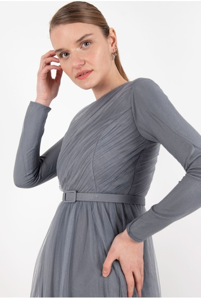 Puane Elbise Gri -PN12185