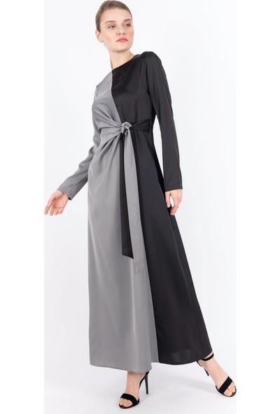 Puane Garnili Saten Elbise Astarsız Gri -PN12147