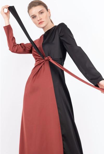 Puane Garnili Saten Elbise Astarsız Kiremit -PN12147