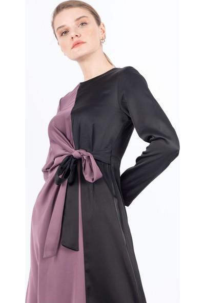 Puane Garnili Saten Elbise Astarsız Lila -PN12147