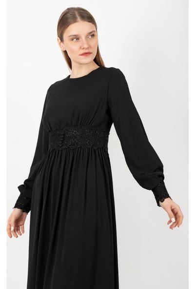 Loreen Güpürlü Elbise Astarlı Siyah -LRN22115-B