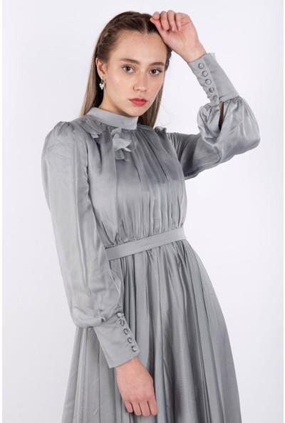 Puane Kemerli Maksi Elbise Astarlı Gri -PN12164