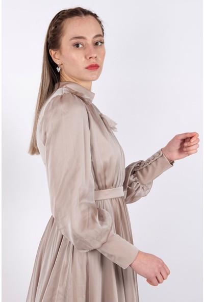 Puane Kemerli Maksi Elbise Astarlı Vizon -PN12164