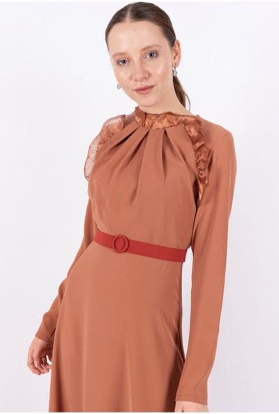 Puane Kemerli Maksi Elbise Astarsız Karamel -PN12162