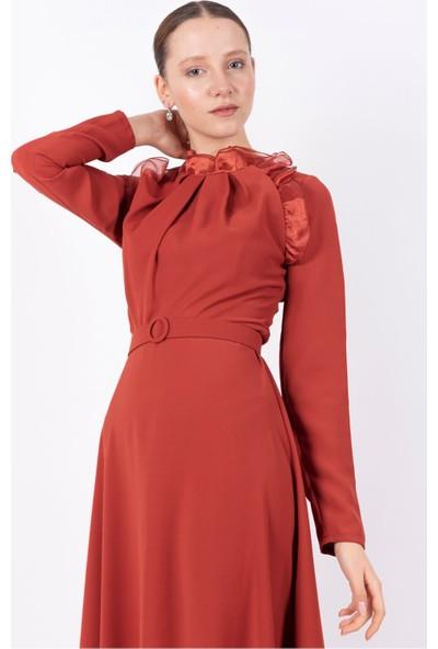 Puane Kemerli Maksi Elbise Astarsız Kiremit -PN12162