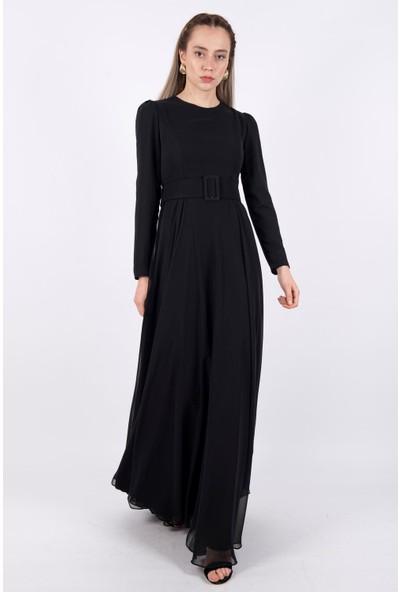 Loreen Kemerli Şifon Elbise Astarlı Siyah -LRN22200