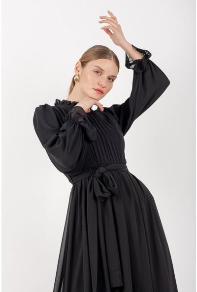 Loreen Kemerli Şifon Elbise Astarlı Siyah -LRN22166