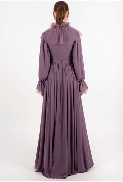 Puane Kemerli Şifon Elbise Astarlı Lila -PN12166