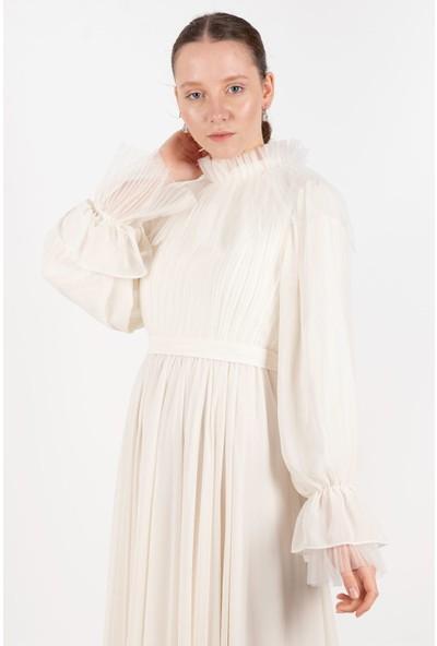 Puane Kemerli Şifon Elbise Astarlı Ekru -PN12166