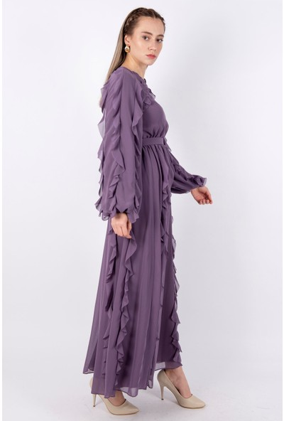 Puane Kemerli Uzun Elbise Astarlı Lila -PN12138