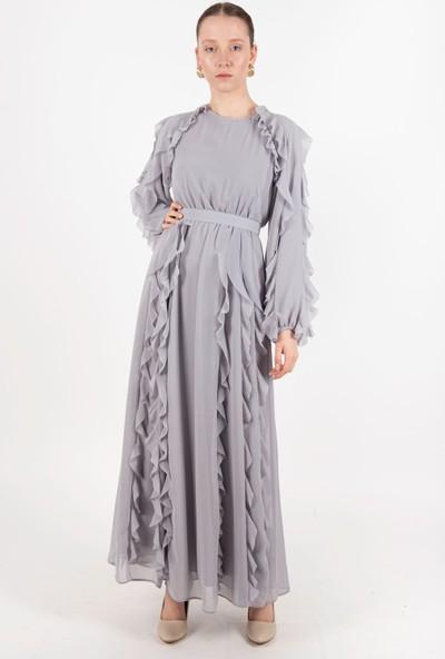 Puane Kemerli Uzun Elbise Astarlı Gri -PN12138