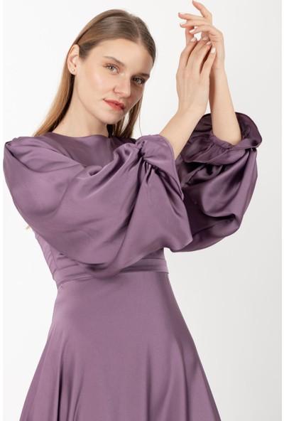 Loreen Kolu Büzgülü Saten Elbise Astarsız Lila -LRN22170
