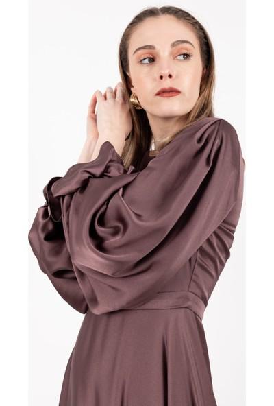 Loreen Kolu Büzgülü Saten Elbise Astarsız Koyu Gül -LRN22170