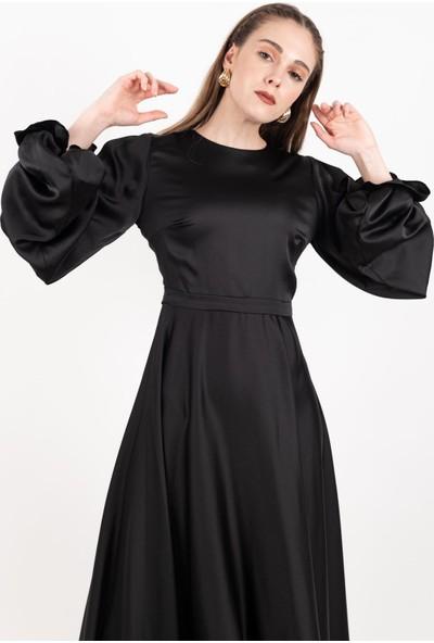 Loreen Kolu Büzgülü Saten Elbise Astarsız Siyah -LRN22170