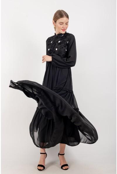 Loreen Kolu Lastikli Maksi Elbise Astarlı Siyah -LRN22180