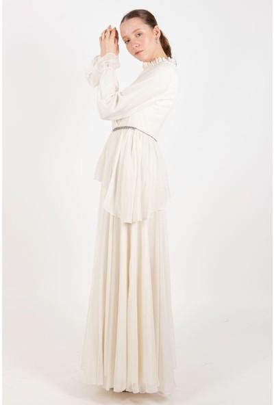 Puane Kolyeli Şifon Maksi Elbise Astarlı Ekru -PN12158