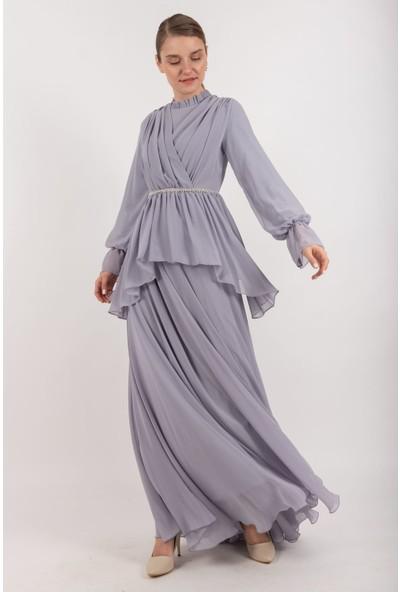 Puane Kolyeli Şifon Maksi Elbise Astarlı Gri -PN12158